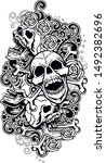 tattoo sleeve with skull and... | Shutterstock .eps vector #1492382696