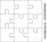 puzzles grid template. jigsaw... | Shutterstock .eps vector #1492440440