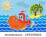 cartoon ship in waves at sea... | Shutterstock .eps vector #149249603