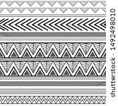 hand drawn navajo tribal aztec... | Shutterstock .eps vector #1492498010