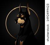 Doberman Dog Black And Gold...