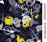 abstract seamless halloween... | Shutterstock . vector #1492514933