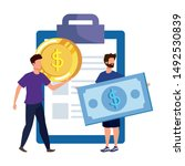 young men with checklist... | Shutterstock .eps vector #1492530839