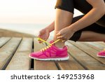 young woman is running in sunny ... | Shutterstock . vector #149253968