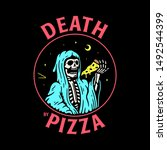 death by pizza grim reaper with ... | Shutterstock . vector #1492544399