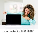 Business Woman With A Laptop...