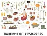 girl plants vegetables in... | Shutterstock .eps vector #1492609430