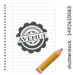 avenue drawn with pencil... | Shutterstock .eps vector #1492610063