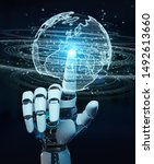 white humanoid hand on blurred... | Shutterstock . vector #1492613660