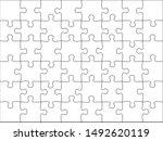 puzzles grid template. jigsaw... | Shutterstock . vector #1492620119