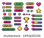 pixel game buttons. games ui ... | Shutterstock . vector #1492620230