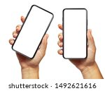 Small photo of Woman hand holding the black smartphone with blank screen and modern frameless design two positions angled and vertical - isolated on white background