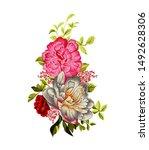 digitla textile design flower... | Shutterstock . vector #1492628306