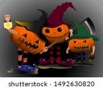 three pumpkin trick or treat on ...   Shutterstock .eps vector #1492630820
