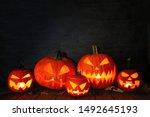 Group Of Halloween Jack O...