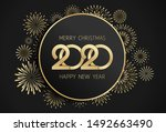 2020 merry christmas and happy... | Shutterstock .eps vector #1492663490