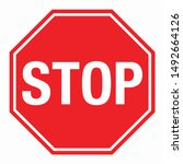 Wall Red Stop Sign Vector...