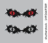 scary red eyes silhouette... | Shutterstock .eps vector #1492669589