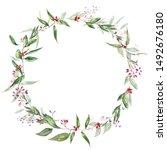 watercolor blooming eucalyptus... | Shutterstock . vector #1492676180