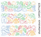 vector set of hand drawn... | Shutterstock .eps vector #1492677623