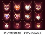 set of 12 necklace with a heart ... | Shutterstock .eps vector #1492706216
