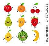 set of cartoon tropical fruit... | Shutterstock .eps vector #1492710236