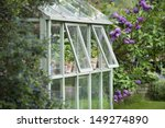 Greenhouse In Back Garden With...