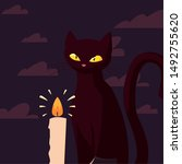 black cat candle happy...   Shutterstock .eps vector #1492755620