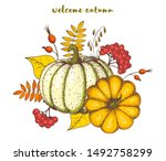 pumpkin and fall leaves bouquet.... | Shutterstock .eps vector #1492758299