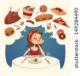 girl on a diet. tasty desires.... | Shutterstock .eps vector #149284490