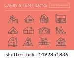 Cabin And Tent Line Icons