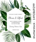 tropical frame arranged from... | Shutterstock .eps vector #1492869299