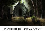 Forest Scenery With Tombstones...