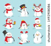 Cute Christmas Snowmen Flat...