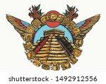 mayan pyramids old school... | Shutterstock .eps vector #1492912556