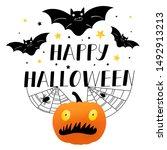 happy halloween poster with... | Shutterstock . vector #1492913213