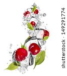 fresh cherries with ice cubes ... | Shutterstock . vector #149291774
