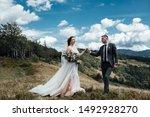 beautiful wedding couple  bride ... | Shutterstock . vector #1492928270