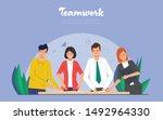 teamwork of business people in...   Shutterstock .eps vector #1492964330