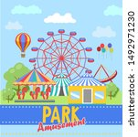 amusement park poster. ferris... | Shutterstock .eps vector #1492971230