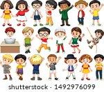 set of happy children greeting... | Shutterstock .eps vector #1492976099