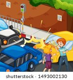 accident scene with people and... | Shutterstock .eps vector #1493002130