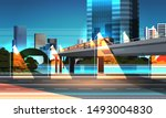 highway road night city street... | Shutterstock .eps vector #1493004830