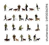 owner man keeps dog on the...   Shutterstock .eps vector #1493036396