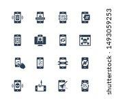 mobile security vector icon set ... | Shutterstock .eps vector #1493059253