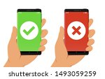 hand holding smartphone with... | Shutterstock .eps vector #1493059259