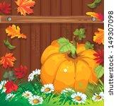 pumpkins on wooden background... | Shutterstock .eps vector #149307098