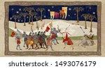 medieval scene. robin hood... | Shutterstock .eps vector #1493076179