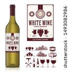 vector vintage white wine label ... | Shutterstock .eps vector #1493082986