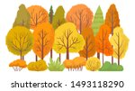 autumn forest trees. autumnal... | Shutterstock .eps vector #1493118290